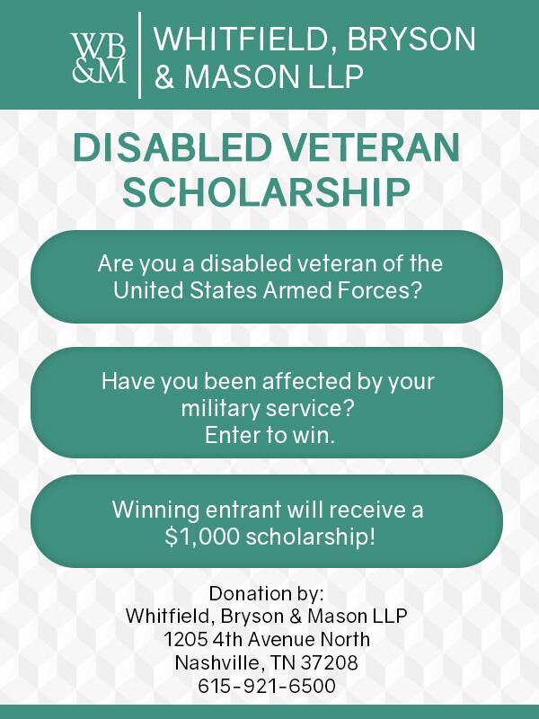 Disabled Veteran Student Scholarship Flyer