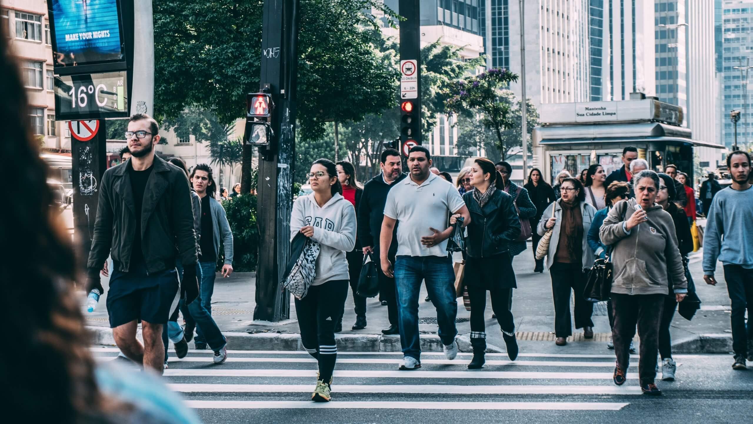 Pedestrians using a crosswalk